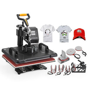 Digital 8 In 1 Transfer Heat Press Machine Sublimation T shirt Cap Swing away