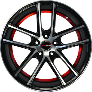 4 Gwg Wheels 18 Inch Black Red Zero Rims Fits Honda Civic Coupe 2012 2018
