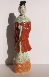 Antique Chinese Republic Period Famille Rose Lady Statue Figurine 11 5 Signed