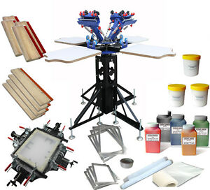 4 Color Screen Printing Stretching Kit Screen Frame Stretcher And Squeegee Ink