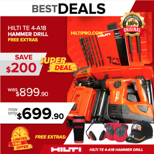 Hilti Te 4 a18 Cpc Cordless Hammer Drill Preowned Loaded W Bits Chisels
