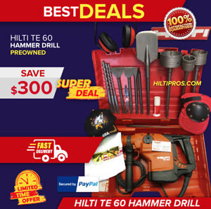 Hilti Te 60 Combihammer Drill New 2 Years Warranty Bits Extras Fast Ship