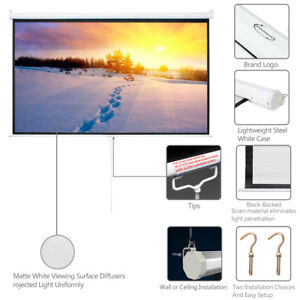 Big Sale 100 Projector Screen 16 9 Projection Hd Manual Pull Down Home Cinema