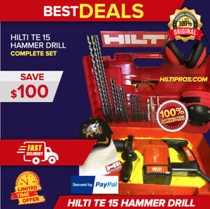 Hilti Te 15 Rotary Hammer Drill Excellent Condition Free Bit Chisels