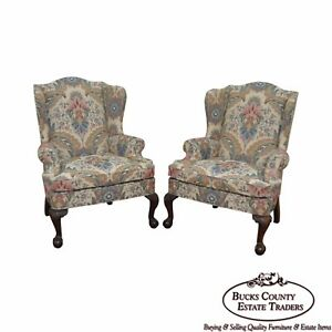 Woodmark Original Pair Of Mahogany Ball Claw Foot Chippendale Style Wing Chair
