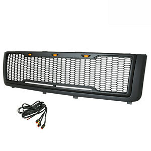 11 14 Chevy Silverado 2500 Mesh Grill Grille Gray W Led Light Abs Replacement