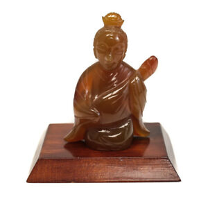 Japanese Carved Jadeite Figure On Wood Base Kneeling Woman With With Lute C1950