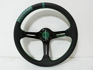 14 Racing Steering Wheel 3spoke Style Leather Green Stitching W Horn Button New