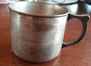 Vintage Antique Worthington Silver Plate California Baby Cup Drucilla Engraved