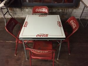 RARE Coca Cola table with 4 chairs Vintage Mexico Tome Coke Porcelain Top