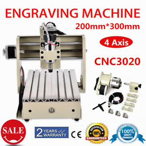4axis Cnc 3020 Router Wood Pcb Pvc Milling Drilling Cutting Engraver Machine Usb
