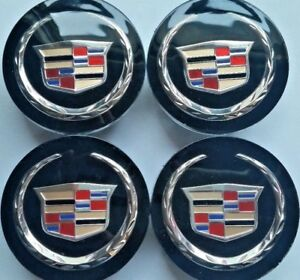 4 Pcs Cadillac Wheel Emblem Center Hub Cap 66mm Black Color Crest