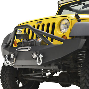 07 18 Jeep Wrangler Jk Offroad Front Bumper With Winch Plate And Led Lights