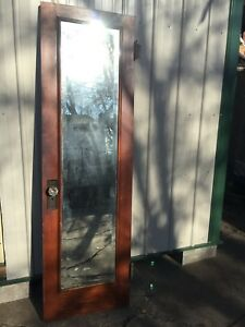 Antique Oak Interior Door W Mirror And Glass Doorknobs