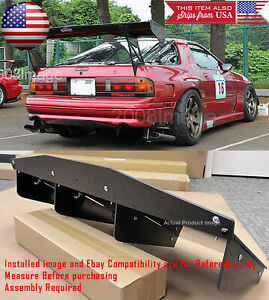 30 X 12 5 Abs Textured Rear Bumper Center 4 Fins Diffuser Fin Black For Chevy