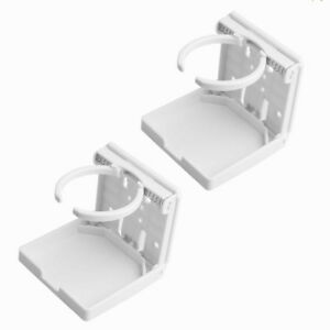 2x White Adjustable Folding Cup Drink Holder Mount Brief For Truck Rv Suv Boat