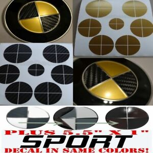 Black Carbon Fiber Gold Sticker Overlay Sport Full Set Fit All Bmw Emblems