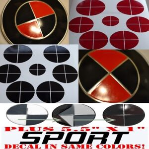 Gloss Black Red Sticker Overlay Sport Vinyl Full Set Fit All Bmw Emblems