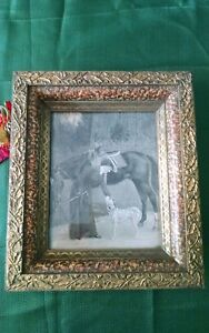 Eastlake Shadow Box Picture Frame Faux Paint Gold Gilt Oak Leaves Acorns Border
