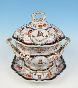 Antique Middleton Crest Staffordshire Ironstone Soup Tureen Imari Armorial Scot