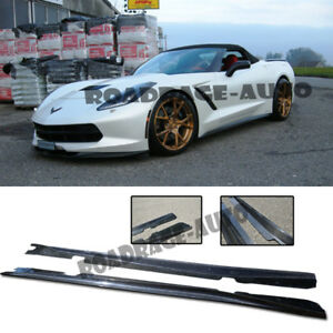 For Corvette C7 Stingray Add On Bottom Line Side Skirts Rocker Panel Carbon Kit