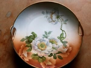 Antique Victorian Porcelain Plate Hand Painted White Roses Gilt 9 5 Bavaria