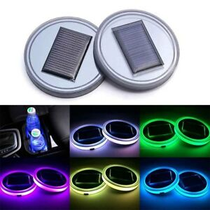 Car Solar Cup Holder Bottom Pad Rgb Led Light Cover Atmosphere Lamp 1pcs
