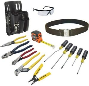 14 Piece Electrician Tool Set Belt Pouch Screwdriver Pliers Safety Glasses Kit