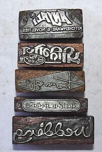 Lot Of 5 Antique Vintage Letterpress Metal On Wood Printing Blocks 089