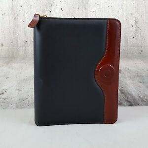 Franklin Covey Classic Two tone Leather Calf Skin Trim 7 Ring Zippered Binder
