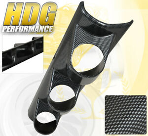 Universal Carbon Fiber Look Triple Gauge Pod Holder Dash Mount A Pillar Jdm New