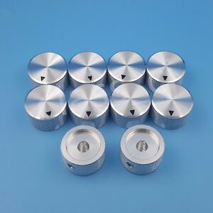 10pcs 6 4mm 1 4 Silver Aluminum 25 X 15 5mm Amplifier Audio Volume Rotary Knob
