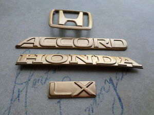 91 93 Honda Accord Lx Rear Trunk Gold Painted Logo Emblem Nameplate Decal Set
