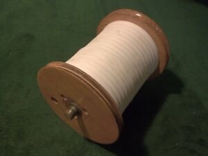 Vintage Wood Industrial Textile Mill Spool With Miles Of Thread 5 X 7 Tall
