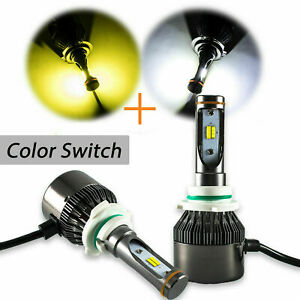 9006 Hb4 9012 High Power Dual White Yellow Led Hi Lo Beam Fog Light Headlight