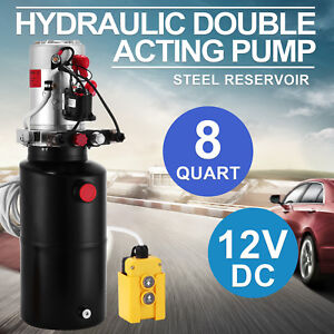 8 Quart Double Acting Hydraulic Pump Dump Trailer Unloading 12v Car