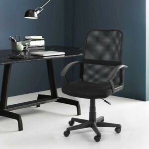 Executive Office Chair Mesh Black Swivel Metal Padded Seats Home Computer Desk