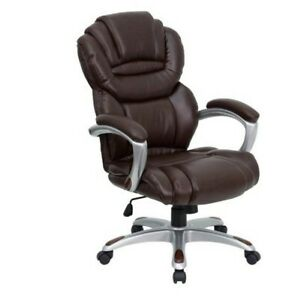 High Back Executive Office Chair Leather W Padded Loop Arms Brown Computer Desk
