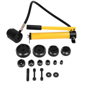 15ton 16 101mm Hydraulic Knockout Punch Kit Hand Pump With 10 Dies