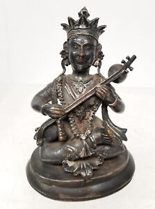 Antique Early Indian Hindu Bronze Or Copper Deity Silver Gilt Buddhism Hinduism