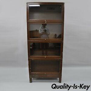 Globe Wernicke 4 Section Stacking Metal Barrister Lawyer Bookcase Industrial Vtg