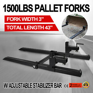 Clamp On Pallet Forks W Stabilizer Bar 1500lb Loader Tractor Heavy Duty Hot 43
