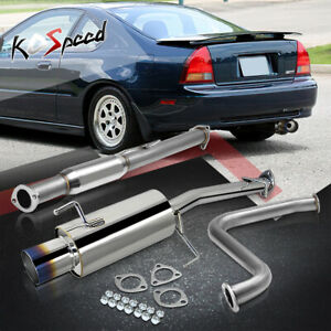 Stainless Steel Ss Cat Back Exhaust System For 92 96 Honda Prelude Bb Burnt Tip