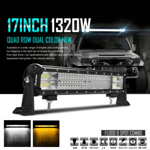 Quad row Cree 17inch 1320w Led Light Bar Combo Offroad Driving 4wd Truck Atv 18