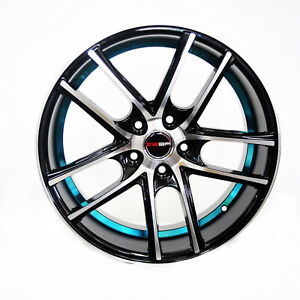4 Gwg Wheels 18 Inch Black Blue Zero Rims Fits Toyota Camry 4 Cyl 2012 2018