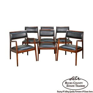 Jens Risom Mid Century Modern Set Of 6 Walnut Black Leather Dining Chairs