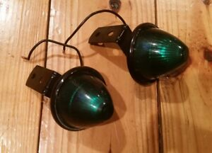 2 Vintage Green Marker Beehive Style Lights Classic Clearance 90 Mounts