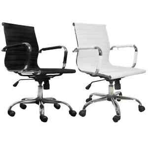 Modern Office Chair Conference Room Leather Upholstered Adjustable White black