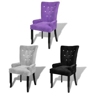 Luxury High Back Dining Chair Tufted Velvet Accent Armchair Purple black silver