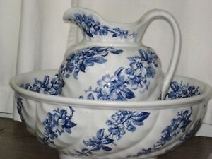 Very Rare Numbered And Stamped Pitcher And Bowl Set